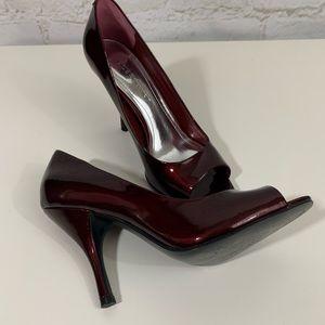 Red  patent leather BCBGeneration peep toe heels